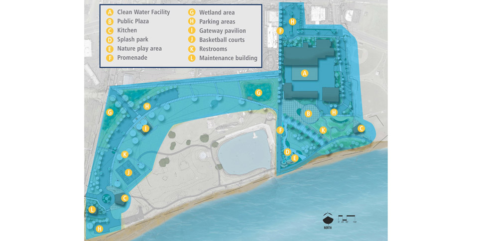 The intermediate design of Windjammer Park, including Clean Water Facility, public plaza, two kitchens, a splash park, nature play area, promenade, wetland area, four parking areas throughout the park, a gateway pavilion near SW Beeksma Drive, basketball courts, two restrooms, and a maintenance building.