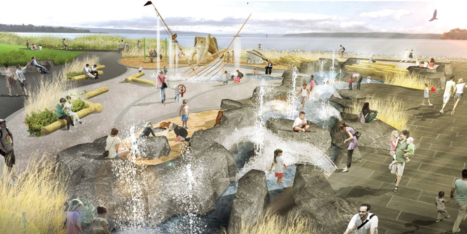 A drawing of the future splash park, showing families with small children on artificial rocks with fixtures that spray water into the air. A half-sunken pirate ship is included for playing. The nature playground is in the background, with three play structures.