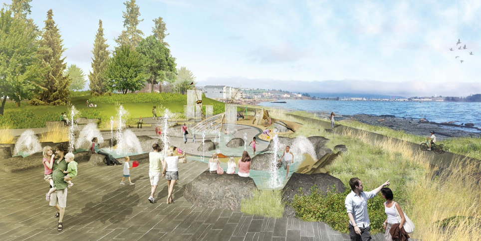 A drawing of the future splash park, showing families with small children on artificial rocks with fixtures that spray water into the air. A half-sunken pirate ship is included for playing. Oak Harbor Bay is in the background.