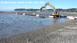 Outfall pipe work in the tidal flat