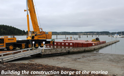 Building the construction barge at the arena