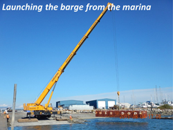 Launching the barge from the marina
